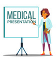 doctor woman in white coat near meeting projector vector image vector image