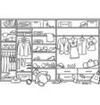 doodle family wardrobe mess concept vector image