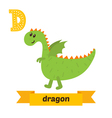 Dragon D letter Cute children animal alphabet in vector image vector image