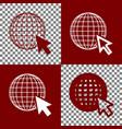 earth globe with cursor bordo and white vector image vector image