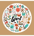 fitness and sport elements in doodle style vector image vector image