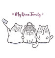 funny cats family taking selfie for greeting card vector image vector image