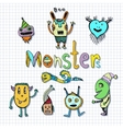 Funny monsters characters Doodle set vector image