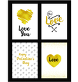 gold set of valentines day card vector image vector image