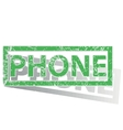 Green outlined PHONE stamp vector image