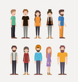group of people teamwork characters vector image