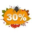 Halloween discount coupon of 30 percent Halloween vector image vector image