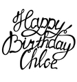 Happy birthday Chloe name lettering vector image vector image