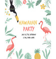 hawaiian card with toucan flamingos flowers and vector image