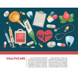 healthcare banner pills and medical tools medicine vector image vector image