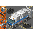 Isometric White Garbage Truck in Front View vector image vector image