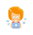 Little Red Head Girl In Red Dress Reading E-mail vector image vector image