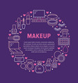 makeup beauty care circle poster with flat line vector image vector image