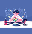 man collect rubik cube timer championship concept vector image vector image