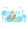 man cyclist riding bike outdoors in summer day on vector image vector image