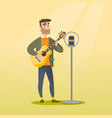 man singing into a microphone vector image vector image