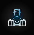 man with gift colored line icon on dark vector image
