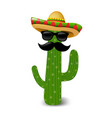 mexican cactus sunglasses vector image vector image