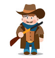 middle aged man with a gun in jeans a long coat vector image