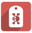 Morgue Mark Flat Rounded Square Icon with Long vector image vector image