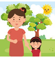mother with daughter on park characters vector image vector image