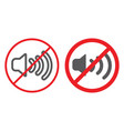no sound line and glyph icon prohibited and vector image vector image