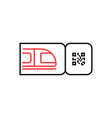 outline train ticket icon with qr code vector image vector image