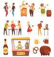 people drinking beer decorative icons set vector image vector image