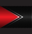 red triangle silver arrow on black hexagon mesh vector image vector image