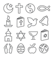 Religion Line Icons vector image