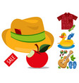 sale hat shirt makeup guitar beach flip flops vector image vector image