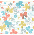seamless pattern with cute hand drawn butterflies vector image