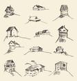 set hand drawn rural houses vector image vector image