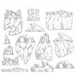 set iceberg different shapes sketch outline vector image