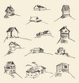 set of hand drawn rural houses vector image