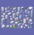 set urban flat buildings vector image vector image