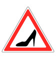 sign womans shoe red triangle woman driving car vector image vector image