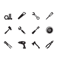 Silhouette different kind of tools icons vector image