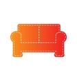 Sofa sign Orange applique isolated vector image vector image
