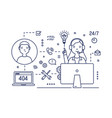 technical support manager wearing headphones with vector image vector image