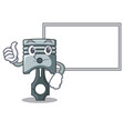 thumbs up with board piston in form mascot vector image vector image