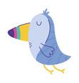 toucan exotic bird animal cartoon doodle color vector image
