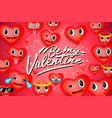 valentines day background with heart emoticons vector image vector image