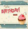 vintage birthday card with realistic cherry vector image