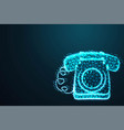 wired sitting telephone machine with crumbled vector image vector image