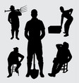 worker people silhouette vector image