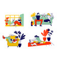 young woman and her cat set girl spend time at vector image vector image