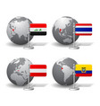 gray earth globes with designation of iraq vector image