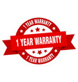 1 year warranty ribbon 1 year warranty round red vector image vector image