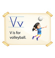A letter V for volleyball vector image vector image